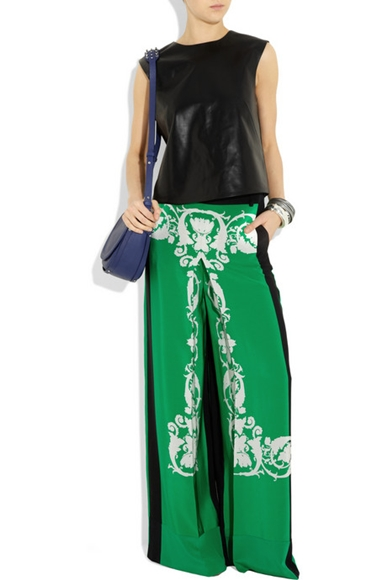 Pajama Look Printed silk crepe de chine palazzo pants