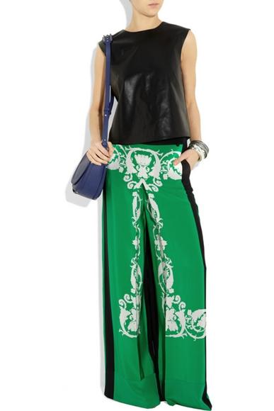 Pajama Look Printed silk crepe de chine palazzo pants