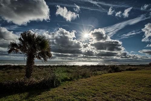 ocean sun water clouds sunrise landscape dunes palmtree pontevedra hdr