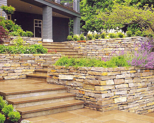 The stone walls give a handcrafted look to the sizeable terraces.