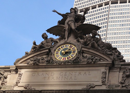 Transportation statue atop entrance of Grand Central Terminal New York