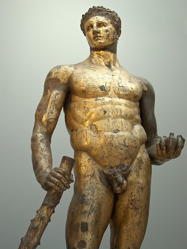 Gilded Bronze statue of a beardless Hercules cast in the Greek Lysippic style of the 4th century BCE found in the remains of the Forum Boarium  Roman 2nd century BCE by mharrsch