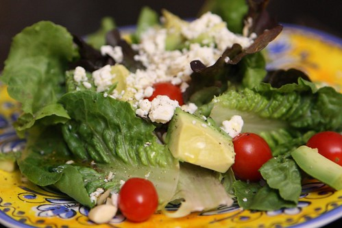 Heirloom Lettuce Salad with Grape Tomato, Feta, Avocado, and Blanched Almond