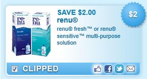 Renu Freshu Or Renu Sensitive  Multi-purpose Solution  Coupon