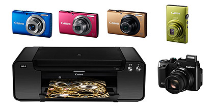 Six new Canon products are debutting in IT Show 2012: Power Shot G1 X ($999),  IXUS 125 HS ($399),  PowerShot A4000 IS ($299),  PowerShot A3400 IS ($249),  PowerShot A2300 IS ($179),  PIXMA PRO-1 ($1,399).