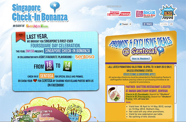 Have you Checked-In yet at Sentosa for the first Singapore Check-In Bonanza? :)
