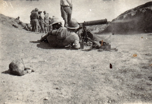 Machine gun practice. British soldiers. Machine gun corps. Palestine WW1