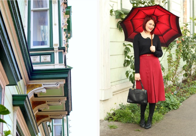 red vintage umbrella and victorian house sf