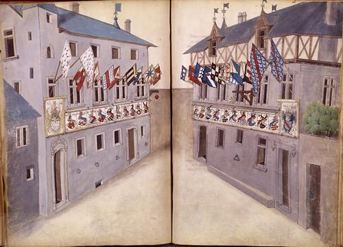 013-Le libre des tournois…1460- René d' Anjou--Français 2692, fol. 39v-40-Casas con las banderas del torneo