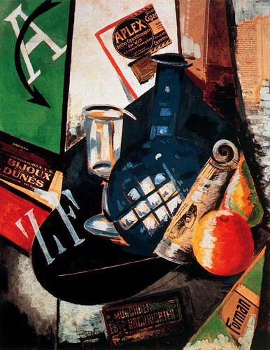 Exter, Alexandra (1882-1949) - 1912 Still Life with Bottle and Glass (Museo Thyssen-Bornemisza, Madrid, Spain) by RasMarley