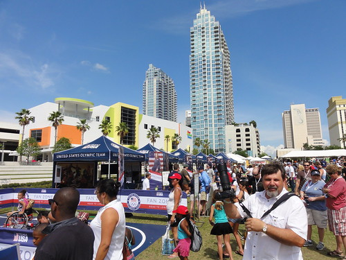 US Olympic Team stands at the Tampa Bay Seafood Festival