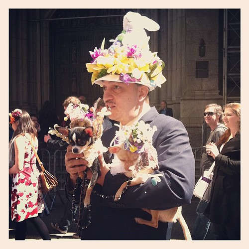 Hands full with cute #Easter doggies #nyc #easterparade #newyork