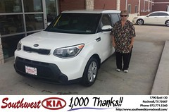 Congratulations to Nora Pounds on your #Kia #Soul purchase from James Adams at Southwest KIA Rockwall! #NewCar