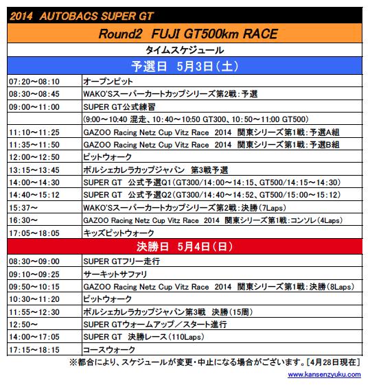 2014SGT第2戦(FUJI GT500km RACE)タイムスケジュール