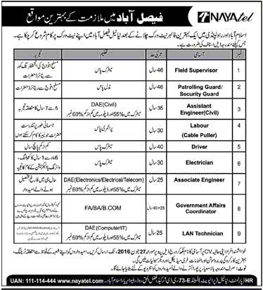 Naytel Faislabad Career Opportunities