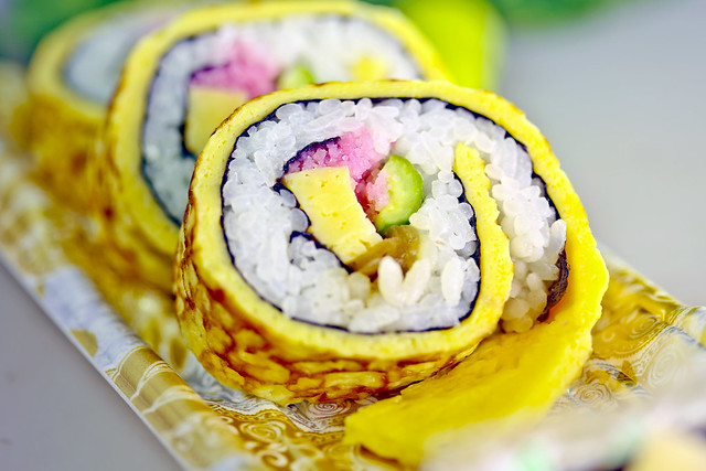 Sushi rolls wrapped with Nori and Tamago