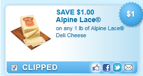 On Any 1 Lb Of Alpine Lace Deli Cheese Coupon