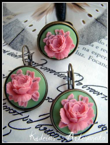 DSCAnel e brincos vintage - Floral verde/rosa by kideias - Artesanato