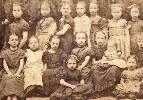 Group of children. Manchester. 1870s (enlarged detail)
