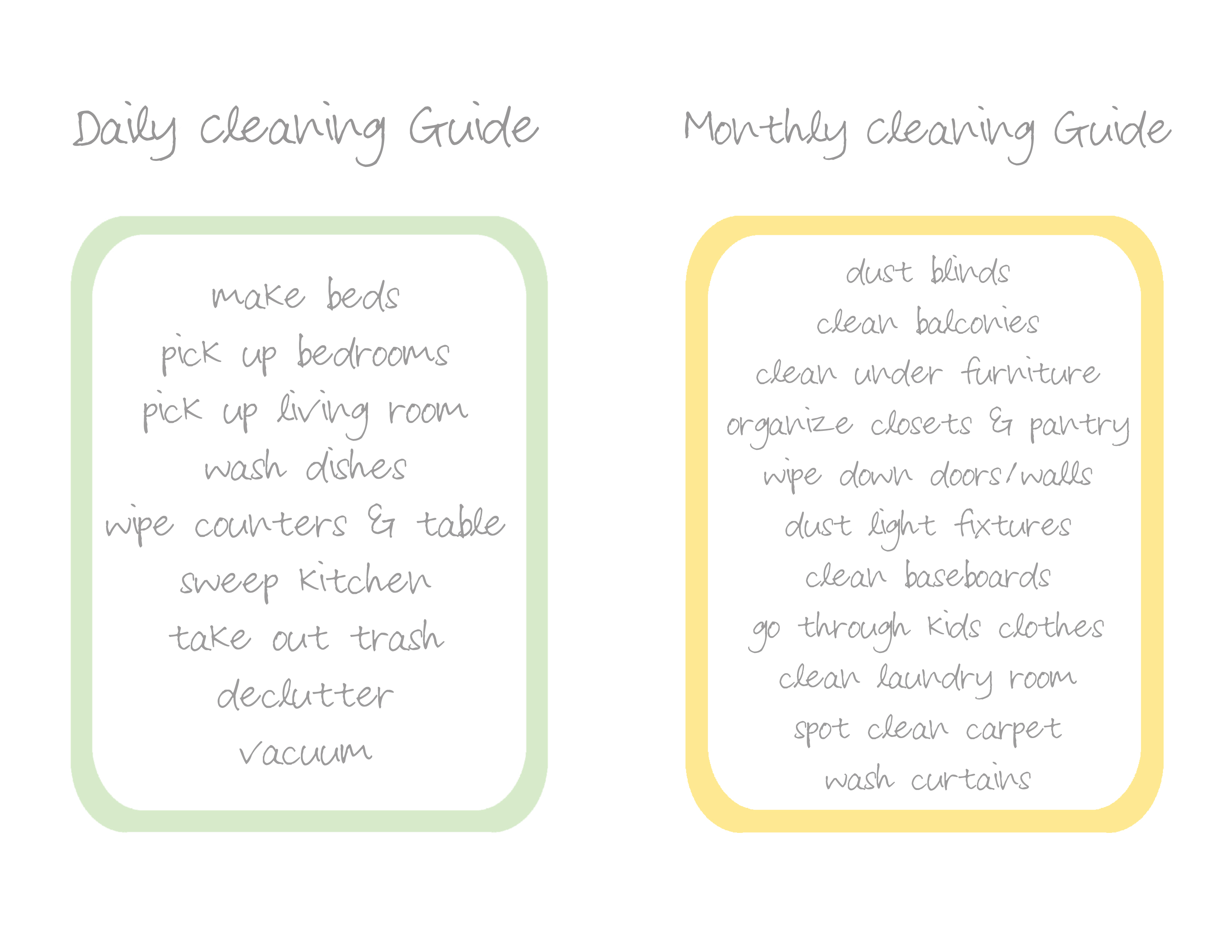 daily and monthly cleaning guide