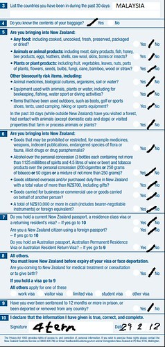 怎么填纽西兰入境卡