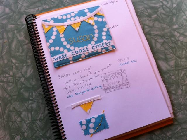 PMQG name tag in my sketchbook