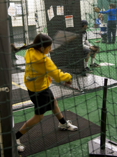 Triple Play batting cages - girl batting