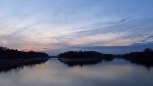 bridge blue sunset reflection river march purple sundown 2012 drava project365