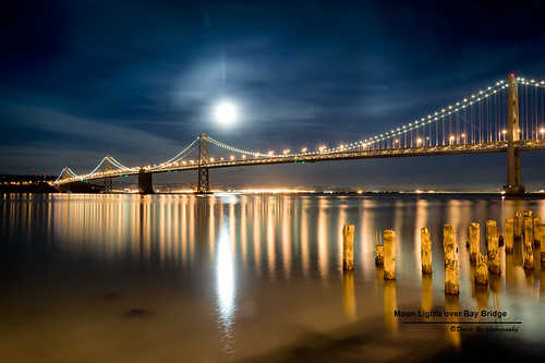 Moon Lights over Bay Bridge