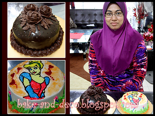 CHOCOLATE CAKE WITH CHOCOLATE ROSES & DRAWING ON BUTTERCREAM CAKE - 14 FEB 2012