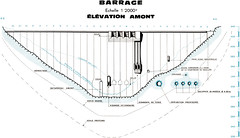 Plan de l'élévation amont du barrage de Vouglans