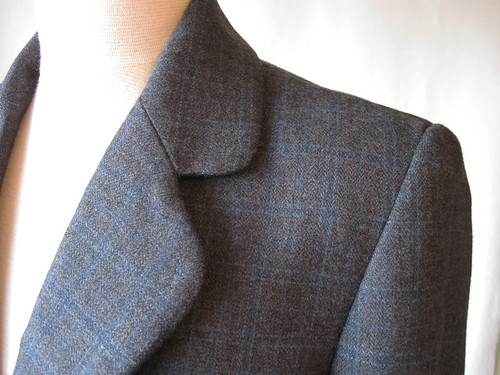 Grey jacket collar closeup