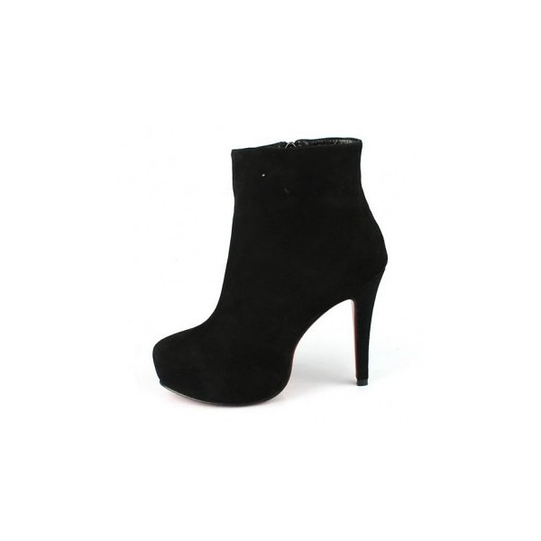 online store 09b10 3116b red bottom high heels suede ankle boots black | red bottom h ...