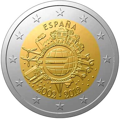 2 Euro Španielsko 2012, 10. výročie zavedenia Eura