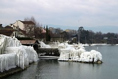 Looking along the Versoix lake front, Lac Léman Ice Storm, Versoix, February 2012