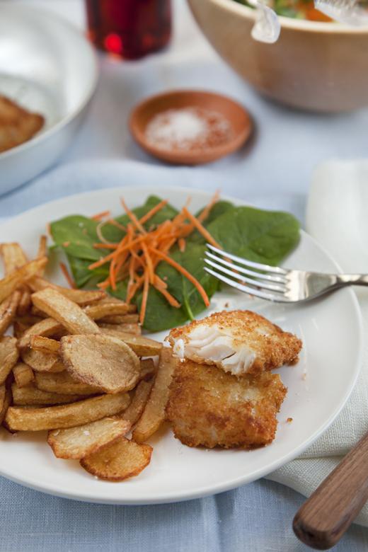Merluzzo fritto con Insalata di Spinacini