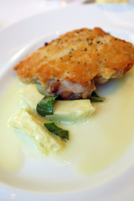 Parmesan Crusted Confit Leg of Chicken, Artichoke, Basil, and Lemon Butter at Jean Georges New York 2