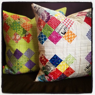 Two granny square pillows.