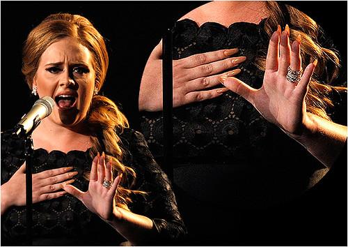 ADELE-pointednails. Adele rocking nude stiletto nails.