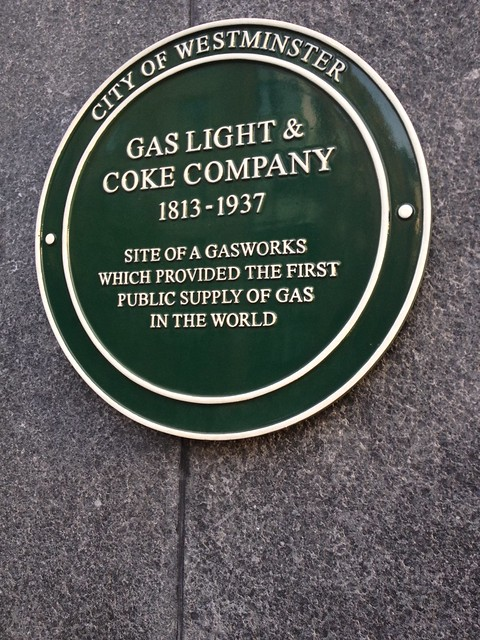 Gas Light & Coke Company green plaque - Gas Light & Coke Company 1813-1937 site of a gasworks which provided the first public supply of gas in the world