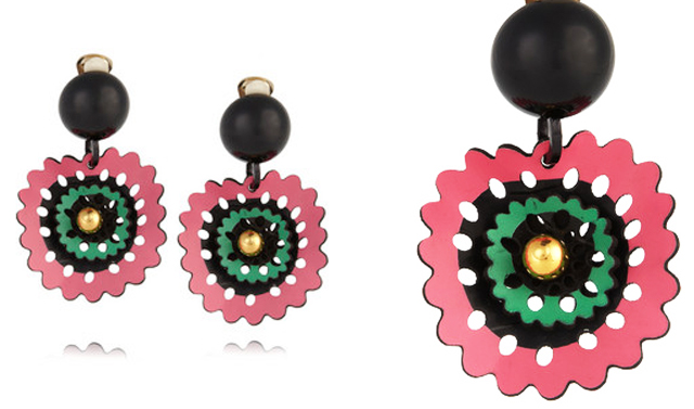 Pink and green drop leather earrings