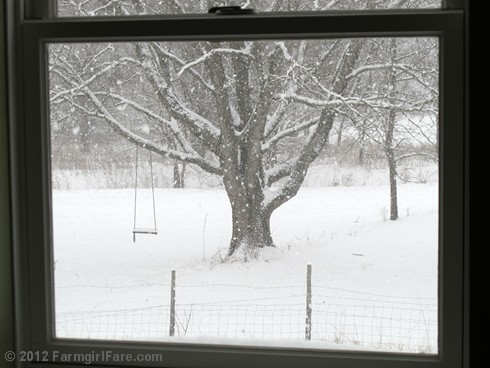 Snowfall through the upstairs windows 9 - FarmgirlFare.com