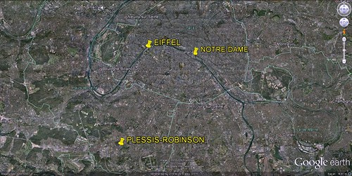 Plessis-Robinson in relation to central Paris (via Google Earth)