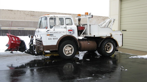 1974 Ford 750 Custom Cab tow truck equipped with a snowplow.  Glenview Illinois USA. Friday, February 24th, 2012. by Eddie from Chicago
