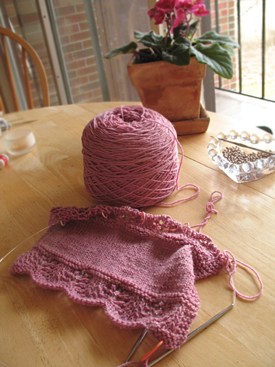 Raspberry Shallows Scarf Start