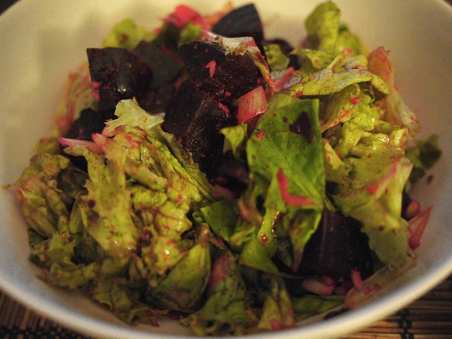 Beets, myoga, brazil nuts and lettuce salad