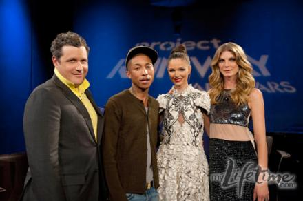 the Project Runway judges with guest judge Pharrell Williams