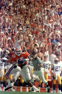 Defensive back Richard Fain heads to the end zone to the delight of the fans: Gainesville, Florida