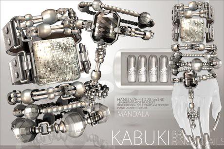 [MANDALA]KABUKI Bracelet/Hand ring/Nails/SILVER, 457 lindens by Cherokeeh Asteria