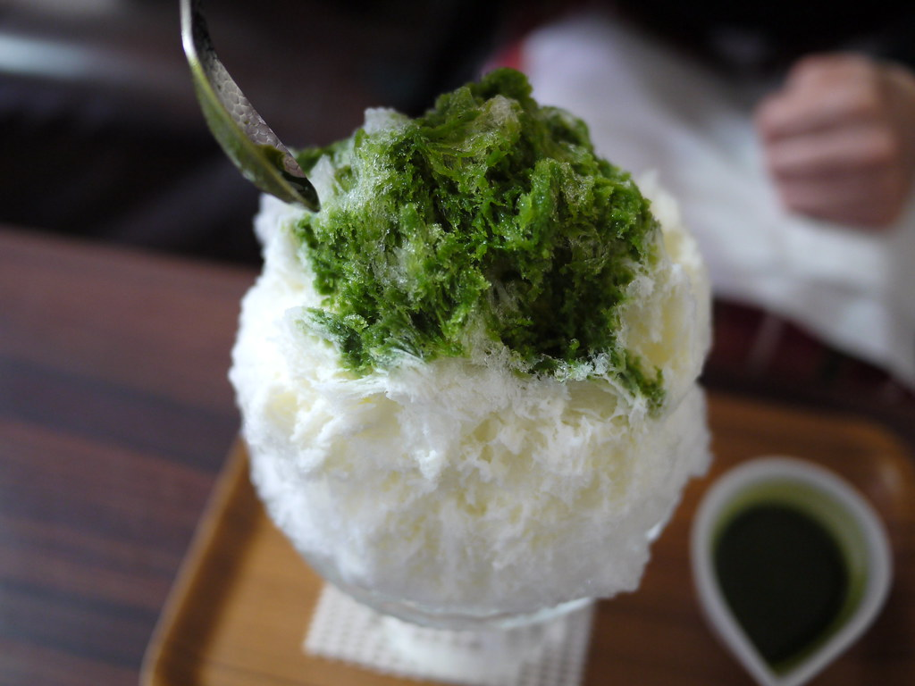 Japanese shaved ice dessert - Green Tea Milk